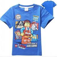 New 2015 lego summer Tee T-shirt boys short sleeve cartoon shirts baby boy shirt cotton tops kids clothes WD2117