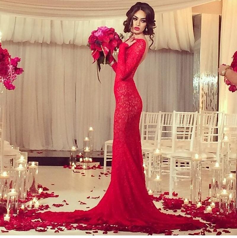 Red Open Back Mermaid Dress Open Back Long Party Dress