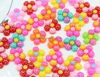 50% sale 300pcs Mixed Colors handpaint 3 tones sun Flower w/ bows polka dots Resin Cabochons, Flower Shaped 20mm
