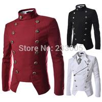 2014 New Double Breasted Designer British Style Mens Blazer Jacket Men Slim Fit Suits Cheap Mens Blazers Red/Black/White M-XXL