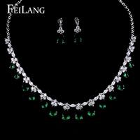 FEILANG High Quality Emerald Cubic Zircon Pendant Necklace & Earrings Long Lasting Platinum Plating Wedding Jewelry Set (FSSP93)