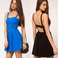2015 New Arrival Casual Dress women backless dress femininas red black blue color sleeveless mini Dress vestidos de festa