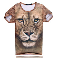 DCBH-Summer clothes male t-shirt 3d lion head short-sleeve t-shirt animal graphic patterns o-neck