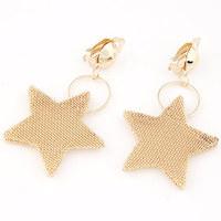 European and American temperament metal exaggeration star ear golden earrings for women/jewelry earings(no pierced ears)