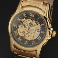 Winner brand 2015 New fashion men skeleton Classic  full steel Band mechanical self wind  luxury watch male wrist watch relogio