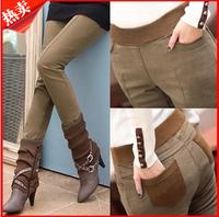 Plus Size 3XL Formal Pants Women Khaki Velvet Thicken Legging Trousers Autumn Winter Slim Skinny Jeans Boot Cut Harem Sweatpants