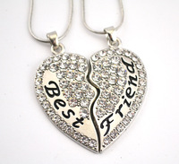 Latest Product  free shipping 30set a lot  Best Friend clear  crystal heart pendant family necklace set with snake chain