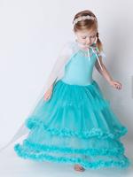 new 2014  Elsa dress elsa costumes for kid girls (dress + cape ) dresses baby girls clothing