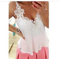 2014 European brand women chiffon blouse V-neck shirt suspenders women Lace chiffon shirt for Women