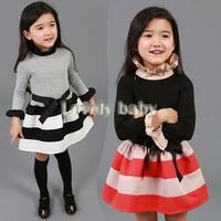 Baby Girls Dresses Fashion autumn 2014 New long-sleeved brand Striped kids christmas dress girls clothes B11 CB034164