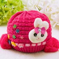 Hot Sale 2015 Double Ball Wool Cap Children Warm Hat Rabbit Applique Baby Knitted Hats HT005