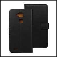 Black Real Leather Wallet Stand Case For Huawei Mate 7 Cell Phone Cover with Card Holder