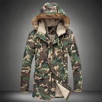 Jacket Men Long Big Size  M L XL XXL 3XL 4XL 5XL Camouflage Army Camouflage Thick Zipper Cotton Abrigo Largo Hombre Casual
