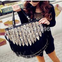 2015 New women's handbag leopard tassel rivet bag leopard print shoulder cross-body bag messenger bags free shipping