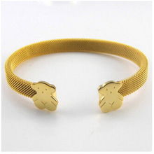 2014 Top Quality Stainless Steel Fashion Jewelry C Mesh Cuff Bracelets Bangles Lovely Bear Bracelets For