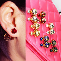 Fashion Jewelry Earrings Hot Selling 2015 Round  Rose Pearl Zircon Stud Earrings Big Pearl earrings for Women