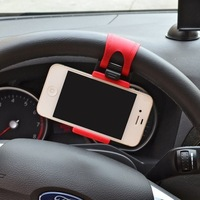New Car Mount Phone Holder For iPhone iPod MP4 GPS Car Phone Holder Steering Wheel Rubber Band,Red and Black,Free Shipping