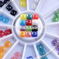 12 Colors 4MM Square Ceramic 3D Nail Glitter Rhinestones Wheel For Nail Art Tips Decoration Design Tools Accessories