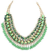 Ethnic Bohemian Woven Chain Teardrop Choker Necklace Beads Collar Necklace  Free Shipping BJN909