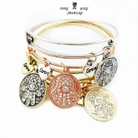 4pcs/lot 65mm diameter simple wiring Alex and Ani fatima hand Bangle silver gold plated free shipping