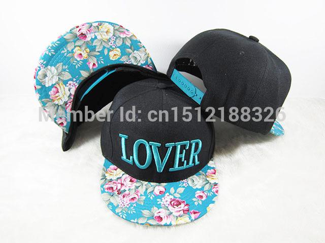 HOT new 2015 LOVER Snapback hats Floral brim Fashion Mens Women Hip Hop sports good nice baseball Bones Gorras caps(China (Mainland))