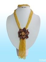 FSJK97   Rose the latest design semi-precious stone necklace  bracelet set
