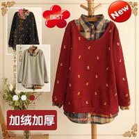 9273# plus velvet thickened new winter Sen female line small pineapple printed plaid shirt sweater false two