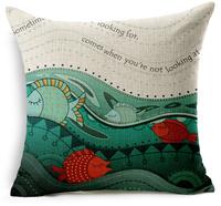 sea fish pillow shams starfish nautical cushion cover cute sofa car throw pillow case