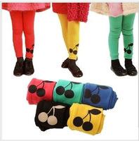 Pls order any 2pcs in shop Sz90~130  spring autumn girls leggings children pants girl trousers cherry