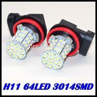 Free shipping 2pcs/lot H11 LED 3014SMD 64LED  Car LED FOG LAMP Light High Beam Light Car Auto / Tail / Head light