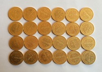 24-K gold-plated Russian Coins 5 ruble <1859-1883> 24 coins Free shipping