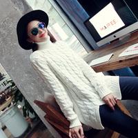 5000w attitude 2014 winter turtleneck twisted sweep placketing medium-long sweater pullover sweater female