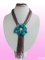 FMK889  Rose the latest design semi-precious stone necklace  bracelet set