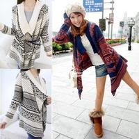 Fashion Women Lady Loose Long Sleeve Knit Sweater Top Cardigan Shawl Cape Blue, Beige free shipping 8169