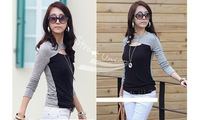 Women's Shirt Fashion Long Sleeve Crew Neck Hollow Out Front Top T-Shirt Tee Blouse Black, Gray Free shipping 8054