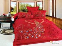 China Phoenix dragon luxury bedding set 100% cotton   Quilt comforter cover duvet sets sheet  Peacock wedding gift bed set