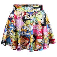 Adventure Time Saias Female 2014 New skirts womens pleated skirts Elastci Waist Cartoon SKIRT Saia plus size Drop Shipping