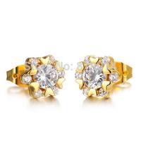 Simple Style 18k gold plated not allergic AAA Cubic Zircon stud earrings  for women