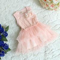 Summer Arrival Children Dress High Quality Flower Chiffon Girl Vest Lace Dress Kid's Princesss Dresses Child Clothes 4pcs/lot
