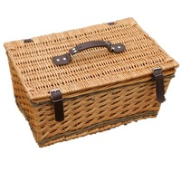 Home Storage Willow Picnic Basket with Deluxe Service for Two and Table Cloths