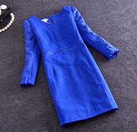 Women Spring Summer Dress 2015 Fashion Vintage Elegant Office Lace Patchwork Blue Black Dresses Pencil Skinny Plus Size Dress