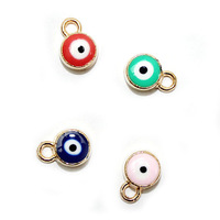 Gold evil eye charms turkish blue/peach/green/pink enamel painting floating charms wholesale factory directly
