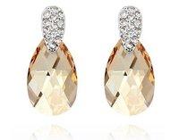 Women's Crystal Earrings Branded Design 18K White Gold Plated