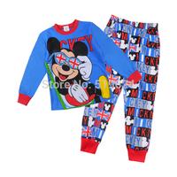 2015 New Fashion baby boys girls Cartoon Pajamas 100%cotton long-sleeve sleep wear for kids Long t-shirts+pants clothing set