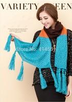 Autumn winter Scarf women Lady Long 43*182CM Wool Pashmina Warm Knit Hood Cowl Winter Neck Wrap Scarf Shawl free shipping