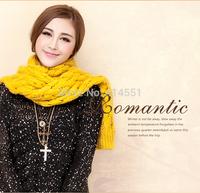 2015Autumn winter Scarf women Lady Long 35*185CM Wool Pashmina Warm Knit Hood Cowl Winter Neck Wrap Scarf Shawl free shipping