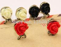 2015  Fashion Trendy Rose Flower Asymmetrical Charm Statement Bronze Stud Earrings Accessories Jewelry For Women X666