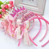 New Cute Baby Headband Lace Bowknot Hairband Children Girls Headwear Crown Hair Band Hair Accessory Fashion Birthday Gift
