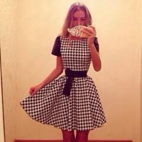 Summer 2015 New Coming Short Sleeve Women A-line Casual Dress Elegant Plaid Celebrity Nightclub Dresses Free Shipping