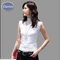 New Style Lace Shirt Sleeveless Female Fashion All Match Black and White Color Blouses For Women's
